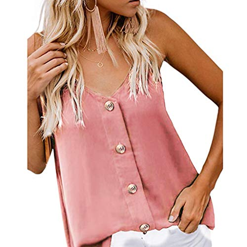 Amlaiworld Womens Plus Size Tank Tops Camisole Top Sleeveless V Neck Button Floral Print Tee Top Loose Casual Shirts Blouse (M, Pink)