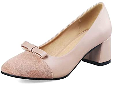 d112e9370c2 Easemax Women s Sweet Stitching Bows Low Top Square Toe Mid Chunky Heel  Dress Pumps Shoes Apricot