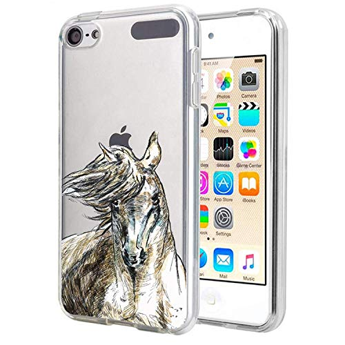 Matcase For IPod Touch 7 Case/IPod Touch 6 /IPod Touch 5 Case - Horse Unicorn Crystal Clear Transparent Anti Scratch Resistant Shock Absorption Ultra Slim Fit Protective with TPU Case (Ipod Wood Case 5)