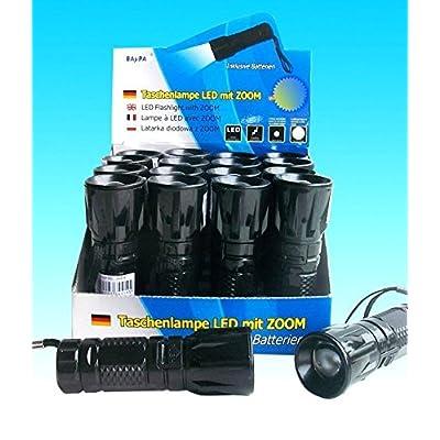 1x - Lampe de poche LED zoom 10,5cm noire - Qualité COOLMINIPRIX®