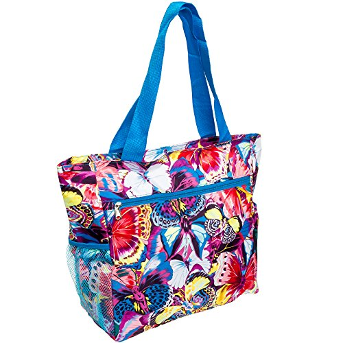 Womens Beach Shopper Tote Bag (Multicolor Butterfly w/ Blue Trim)