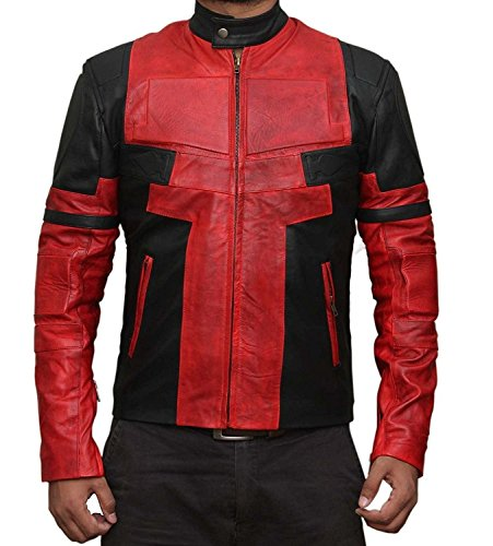 The Best Deadpool Costume - Red Deadpool Costume PU Leather Jacket Collection (L)