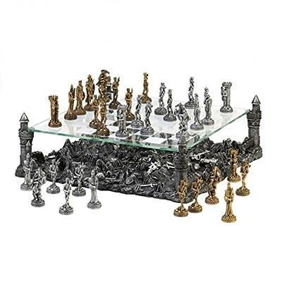 Chess Set, Dark Battleground Modern Medieval War Table Large Glass Chess Set