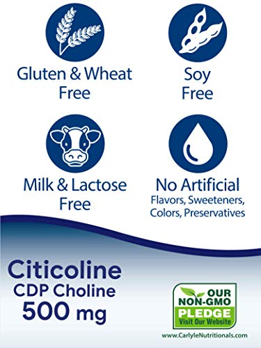 Citicoline CDP Choline 500mg   60 Capsules   Highest Potency Per Capsule   Non-GMO, Gluten Free Supplement   by Carlyle
