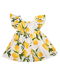 Toddler Baby Dress Girls Sweet Lemon Floral One-piece Sundress Clothes