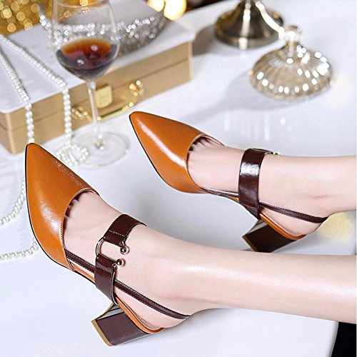 y Zapatos Tacones Altos aspero Verano Palabra Coreana los Brown de de Plaza Las y JRFBA Zapatos Mujer Mujeres Baotou la Version de Sandalias Retro OHcqXY