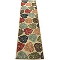 Rubber Collection Leaves Multi-Color Printed Slip Resistant Rubber Back Latex Contemporary Modern Area Rugs and Runners (1161/1162) (Multi Leaves, 23x7)