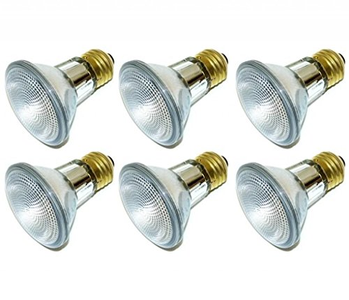 (Pack Of 6) 39PAR20/FL 120V - 39 Watt High Output (50W Replacement) PAR20 Narrow Flood - 120 Volt Halogen Light Bulbs