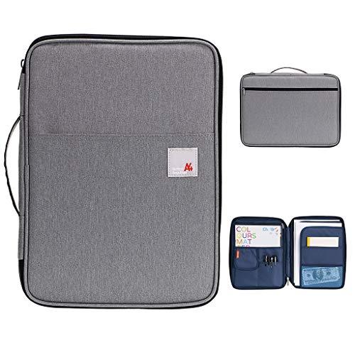 BTSKY New Universal A4 Document Bags Portfolio Organizer- Waterproof Travel Gear Organizer Zipper Case/Document File Bag for Ipads, Notebooks, Pens, Document Dark Grey New