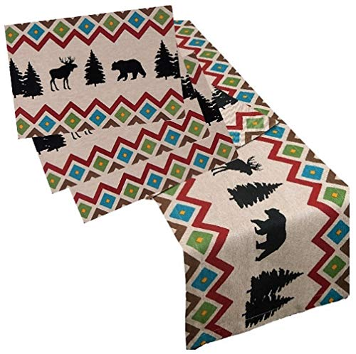 (Lodge Cabin Themed Table Runner with 4 Placemats Set | Bear and Moose Rustic Decor Print | by Kay Dee Designs )
