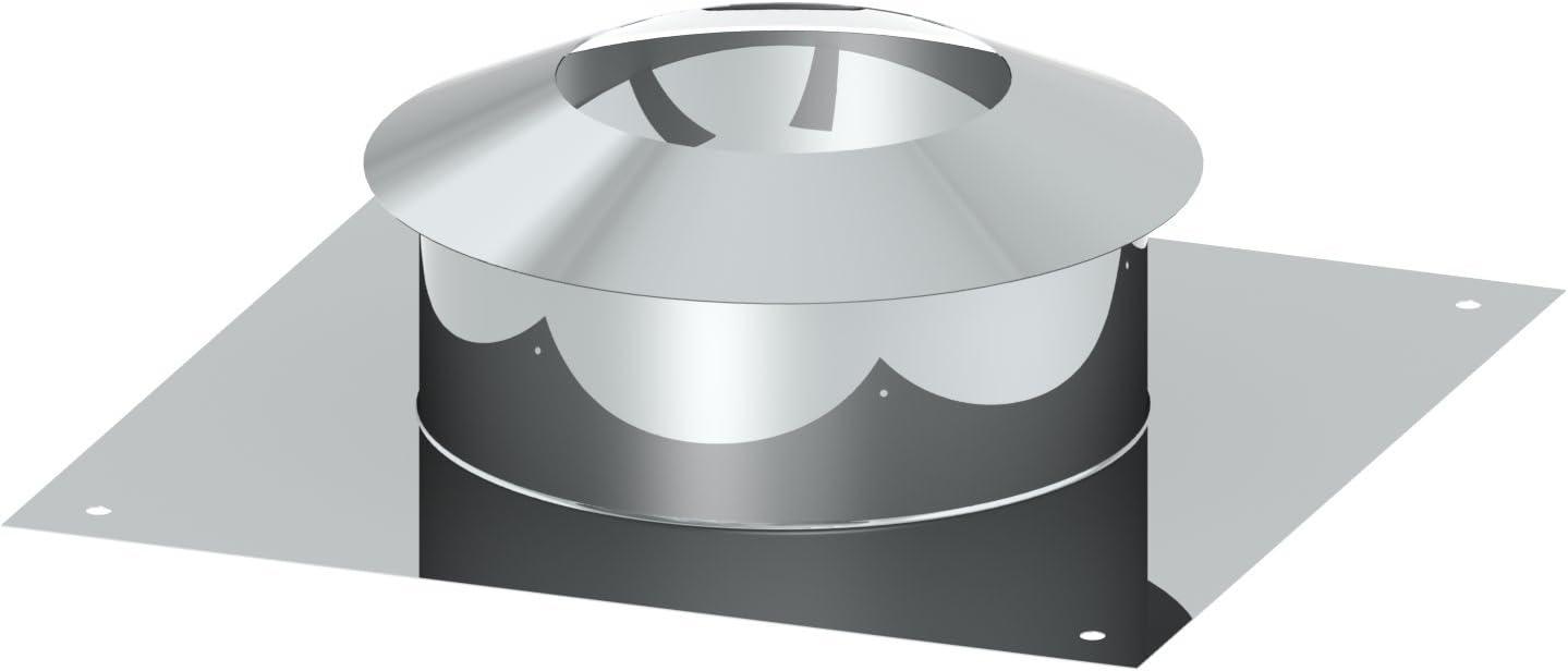Schornstein EW einwandige Universalkopfabdeckung mit Ringspalthinterl/üftung und Wetterkragen /Ø 100 mm