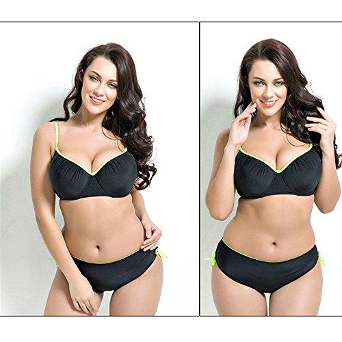 Fastar Bikini acolchado de talla grande Mujer bañador bikini push up Trajes de baño de alta cintura estilo simple Negro 2