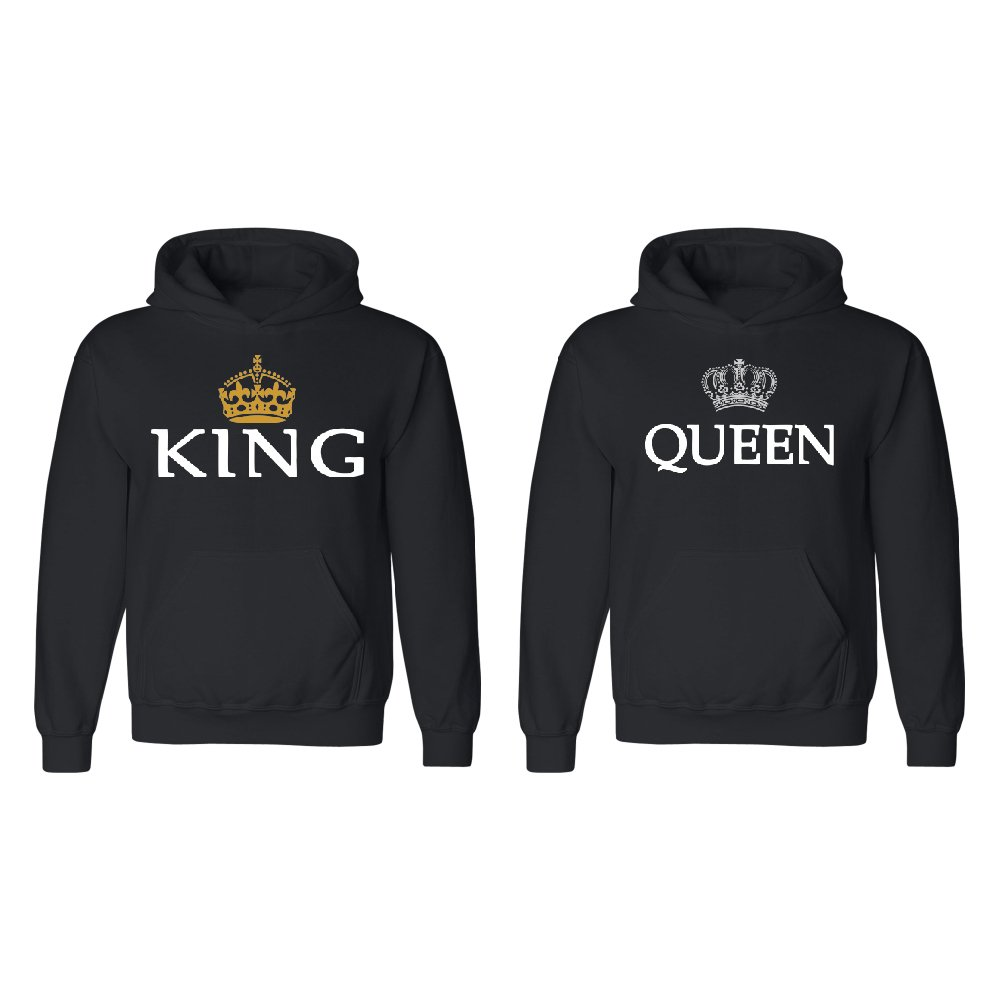 Crown King Queen Couple Matching Hoodie Set Valentines Day BEA