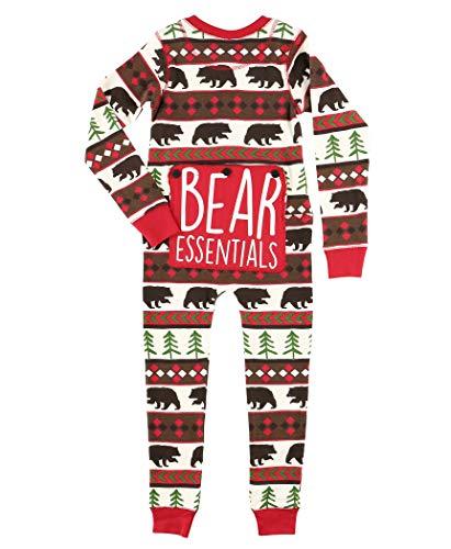 Red Bear Fair Isle Kids Flapjack Onesie Pajamas by LazyOne | Adult Kid Infant Dog Family Matching Pajamas (2T)