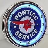 Pontiac Service 15'' Neon Clock Parts Car Garage Emblem Logo Sign Judge Firebird Blue