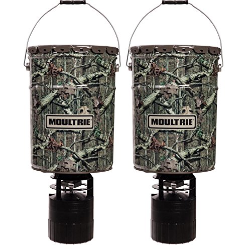 Moultrie (2) 6.5 Gallon 360° Pro-Hunter Bucket Style Hanging Game Deer Feeders Pro Hunter Hanging