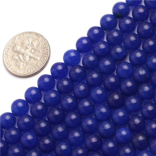 Blue Jade Beads - GEM-inside Jade Gemstone Loose Beads Round Smooth Dark Blue 6mm Crystal Energy Stone Power Beads For Jewelry Making 15