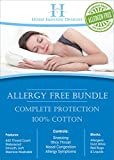 Home Fashion Designs Platinum Allergy Control Bundle. Includes 2-Pack Bamboo Pillow Protectors & Zippered Bamboo Mattress Encasement for Maximum Protection from Allergens. By Brand. (Queen)