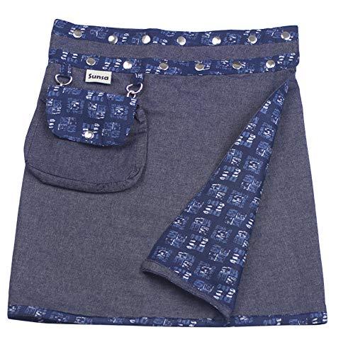 Sunsa Damen Rock Minirock Sommerrock Wickelrock aus Jeans & Baumwolle, 2 Röcke in einem, mit Abnehmbarer Tasche, Größe verstellbar, Frau Bekleidung, Geburtstag Geschenk für Frauen 15736