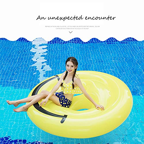 Inflatable Emoji Smiley Face Floating Row Adults Kids Summer Beach Toy Swimming Pool Party Lounge Round Raft-Yellow by WYL (Image #2)