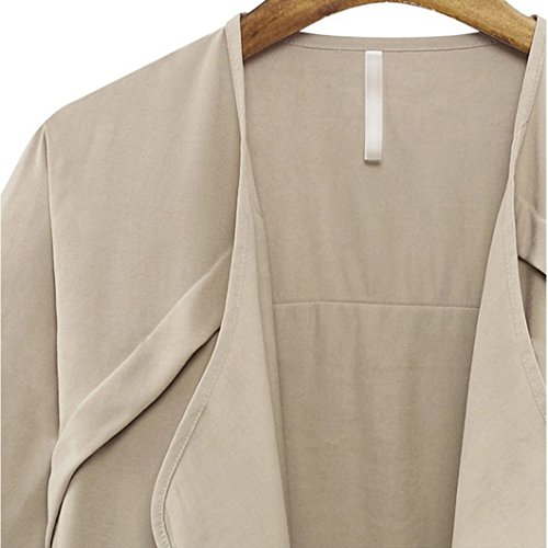URqueen Women's Fashion Jacket Loose Fit Outwear Open Front Coat Beige