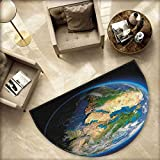Earth Bath mats for Floors Vivid Earth Globe with Blue Seas Greenery Volumetric Clouds Science Theme Bathroom Mats Half MoonH 55.1'' xD 82.6'' Blue Green Sand Brown