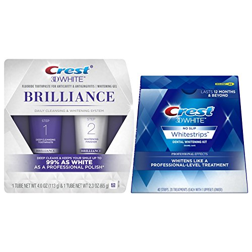 Price comparison product image Crest 3D White Brilliance Daily Cleansing Toothpaste and Whitening Gel System, 2.3 oz & Crest 3D White Luxe Whitestrips Professional Effects - Teeth Whitening Kit 20 Treatments Bundle