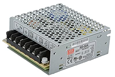 """Mean Well RD-50A-VP Enclosed Switching AC-to-DC Power Supply, Dual Output, 5V-12V, 54W, 1.4"""" H x 3.8"""" W x 3.9"""" L"""