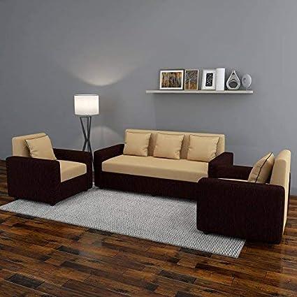 Bharat Lifestyle Tulip Five Seater Sofa Set 3 1 1 Brown Amazon In