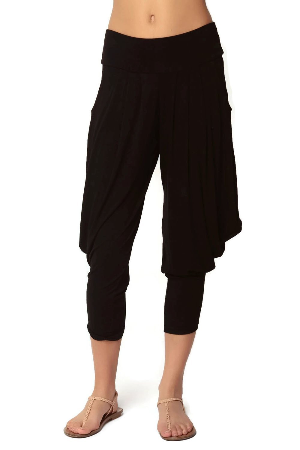 Simplicitie Women's Soft Yoga Sports Dance Harem Pants - Black, Small - Made in USA