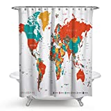 Designer Shower Curtains Tidy decor Colorful World Map Traveler Fabric Shower Curtain Set For Bathroom, Unique Luxurious Modern Designer Vibrant Art Decor For Bathroom