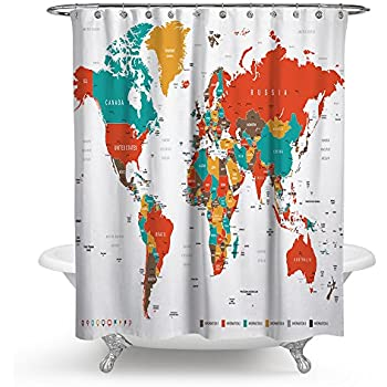 Amazon saturday knight the world peva shower curtain home tidy decor colorful world map traveler fabric shower curtain set for bathroom unique luxurious modern designer vibrant art decor for bathroom gumiabroncs Gallery