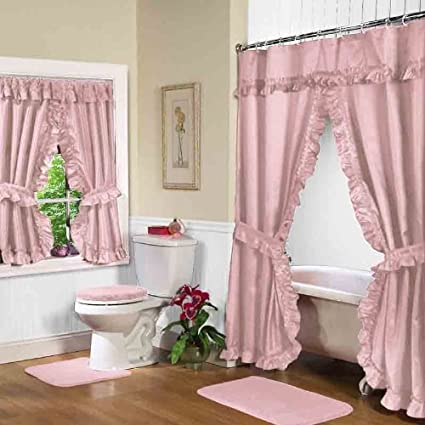 Elegant Double Swag Shower Curtains.Simple Elegance Double Swag Diamond Piqued Peva Non Toxic Shower Curtain 70 X 72 Rose