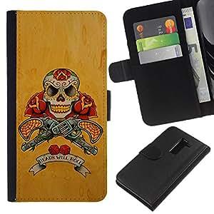 iBinBang / Flip Funda de Cuero Case Cover - Pistolas Pistolas Cráneo amarillo Guerra Rose - LG G2 D800