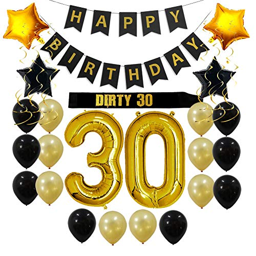 30th Birthday Decorations Party Supplies Gift for Her/Him - Dirty 30 Party Supplies, Happy Birthday Banner, Sash, 30 Gold Number Balloons, Sparkling Hanging Swirls, Black and Gold Balloons