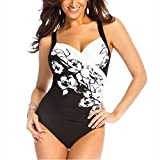Hibote Women's Plus Size One Piece Swimsuit Sets V-Neck Floral Printing Swimwear S-5XL