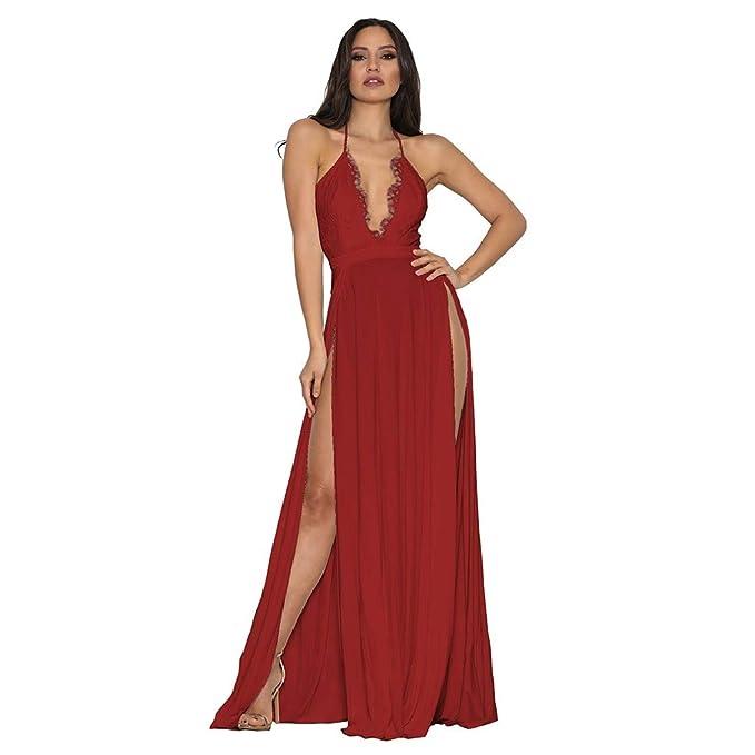 Amazon.com: Vestido de mujer sexy y elegante, escote en V ...