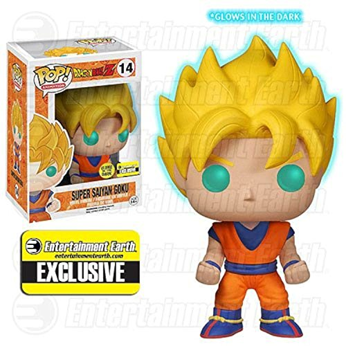 [Funko POP! Anime: Dragonball Z Glow In The Dark Super Saiyan Goku Action Figure EE Exclusive] (Dragon Ball Z Costume For Adults)