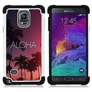 - aloha Hawaii night sky stars text pink - - Doble capa caja de la armadura Defender FOR Samsung Galaxy Note 4 SM-N910 N910 RetroCandy