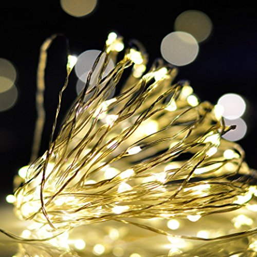16.4Ft 50 LEDs Battery Powered Mini LED Wire String Fairy Lights LED light string (Warm (12 Days Of Halloween Chords)