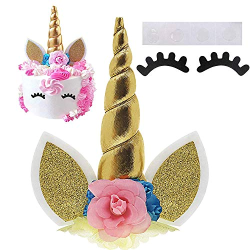 (Palksky Handmade Gold Unicorn Birthday Cake Toppers Set. Unicorn Horn, Ears and Flowers Set. Unicorn Party Decoration for Baby Shower,Wedding and Birthday Party)