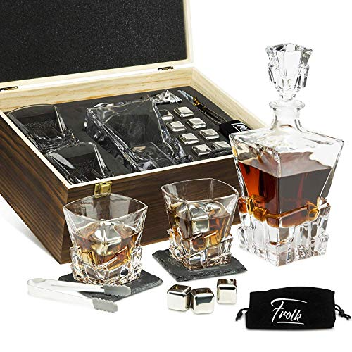 Whiskey Decanter Set for Men & Women - Whiskey Decanter, 2 Rocks Whiskey Glasses, 8 Stainless Steel Whisky Cubes, 2 Coasters, Silicone-Tipped Tongs & Freezer Pouch in Pinewood Box (Johnnie Walker Whisky Blue Label)