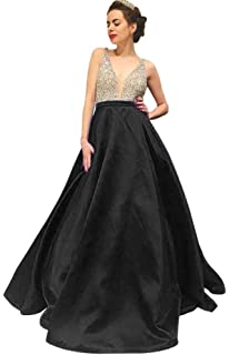 Dressylady Womens V Neck Beaded Satin Long Prom Dress Evening Party Gowns