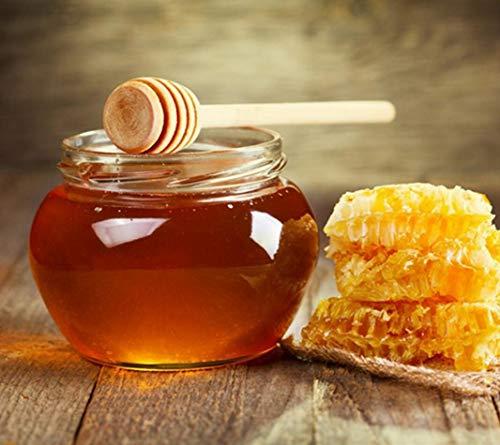 (Natural wood grain honey spoon with honey stick stir bar)