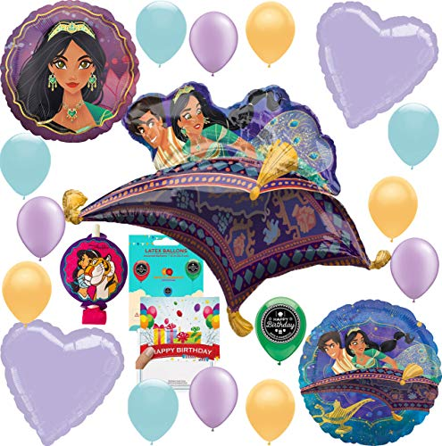 Aladdin Party Supplies Birthday Balloon Decoration Deluxe Bundle with Birthday Card and Aladdin Princess Jasmine Blowout -