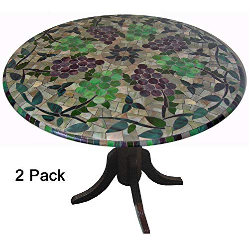 2 Pack of 2 TableMagic Fitted Vinyl tablecloths(tablecovers, Table Covers)-Vineyard Stained Glass for a Magical Transformation of 36