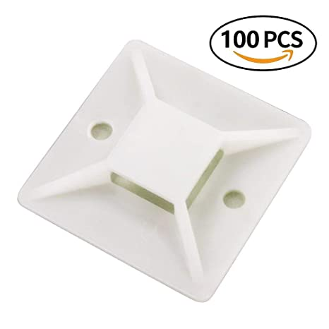 Amazon 100 Pack Self Adhesive Cable Tie Mounts Wire Base
