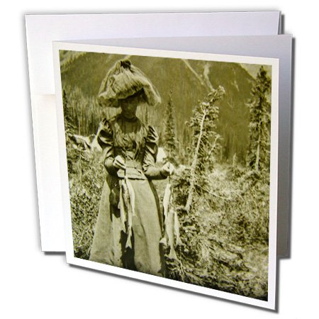Scenes from the Past Magic Lantern - Victorian Woman Fishing Trout American West Colorado Mountains - 12 Greeting Cards with envelopes (gc_244022_2) ()