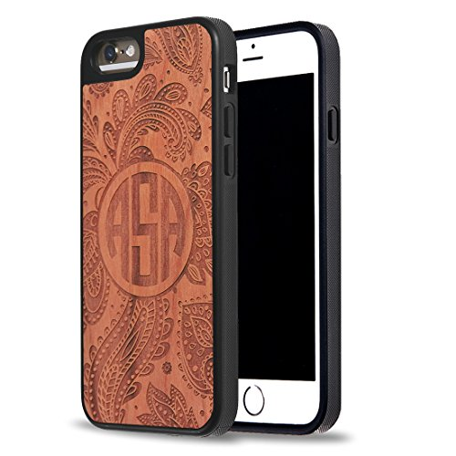 Custom Phone Cases, Carved on Natural Rosewood iPhone 6 Case, iPhone 6S Case, iZERCASE [Wood Collection, Paisley] Make Your Own Phone Case, Monogram Personalized Case (ROSEWOOD)