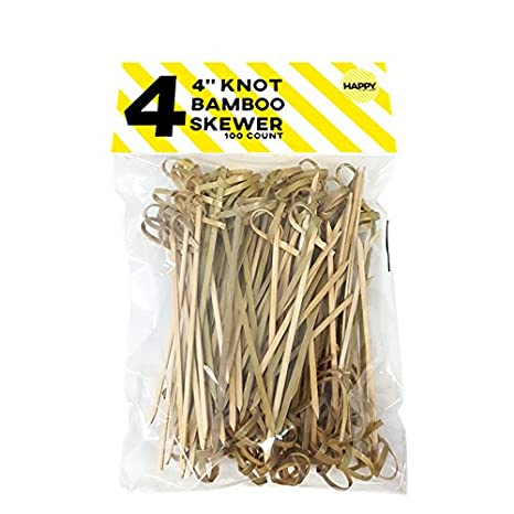 Happy Sales HSCMS-2, Bamboo Skewers 6 Inch Twisted ends 50 PCS